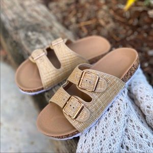 Beige Woven Double Strap Footbed Sandals